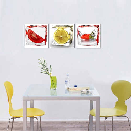 Purple Vegetable Wall Art: Vegetable And Fruits Lemon Canvas Square Wall Art, Kitchen