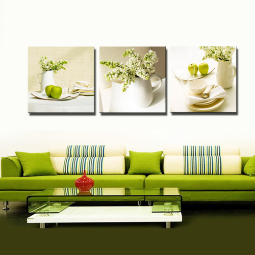 3 panel green flowers still painting canvas wall