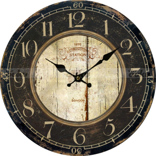 Large Retro Euro Wall Clock Country Antique Wood Home