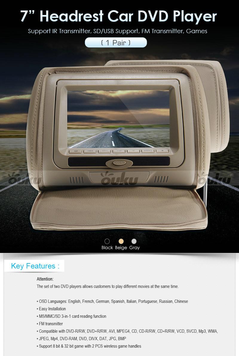 5 double en voiture repose t te num rique cran lecteur dvd gris ebay. Black Bedroom Furniture Sets. Home Design Ideas