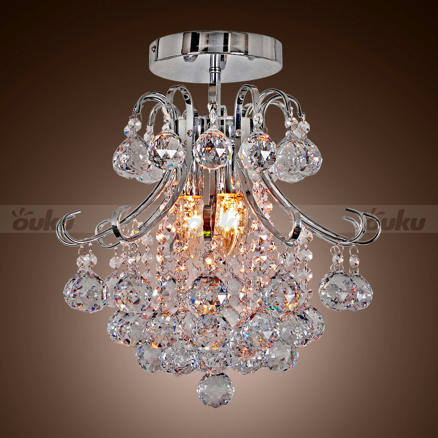 40w Led Ceiling Light Fixture Lamp Flush Mount Room: 40W Modern Crystal Chandeliers Flush Mount Lighting Living