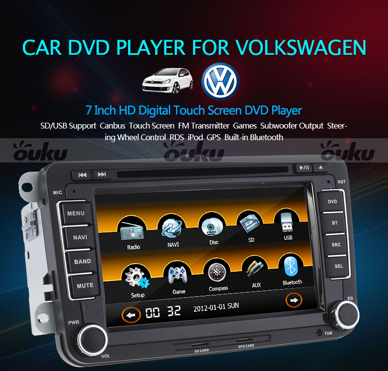double 2din digi cran tactile voiture lecteur dvd pour volkswagen bt gps ebay. Black Bedroom Furniture Sets. Home Design Ideas