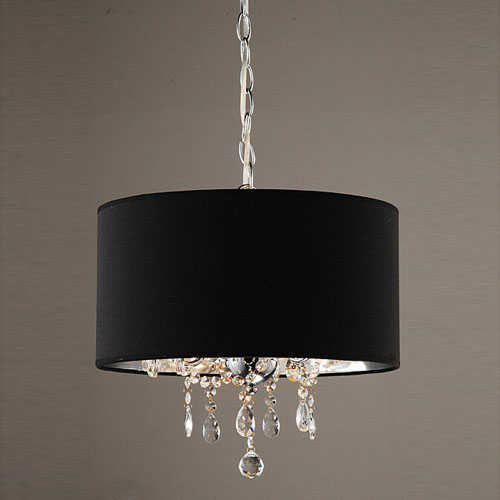 modern crystal beaded pendant light with 3 lights and black drum shade