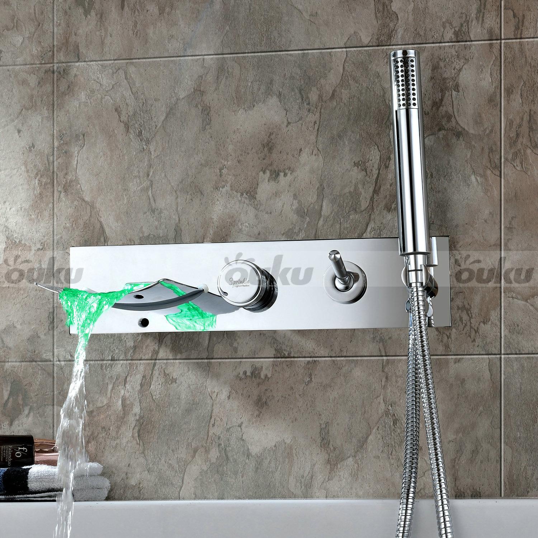 Us Bathroom Wall Mount Waterfall Led Roman Tub Filler