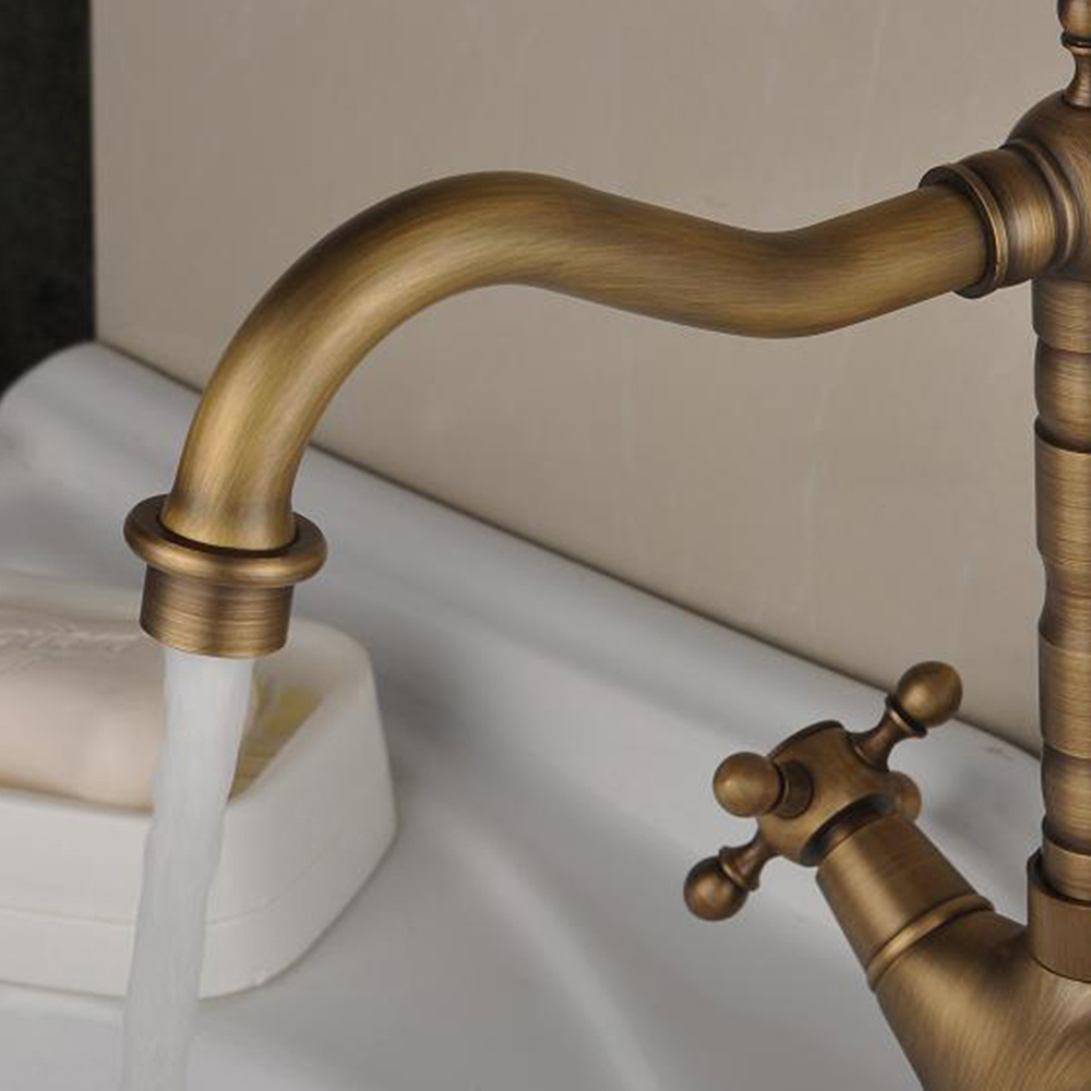Antique brass swivel kitchen sink bathroom mixer tap faucet two handles bathroom Antique brass faucet bathroom