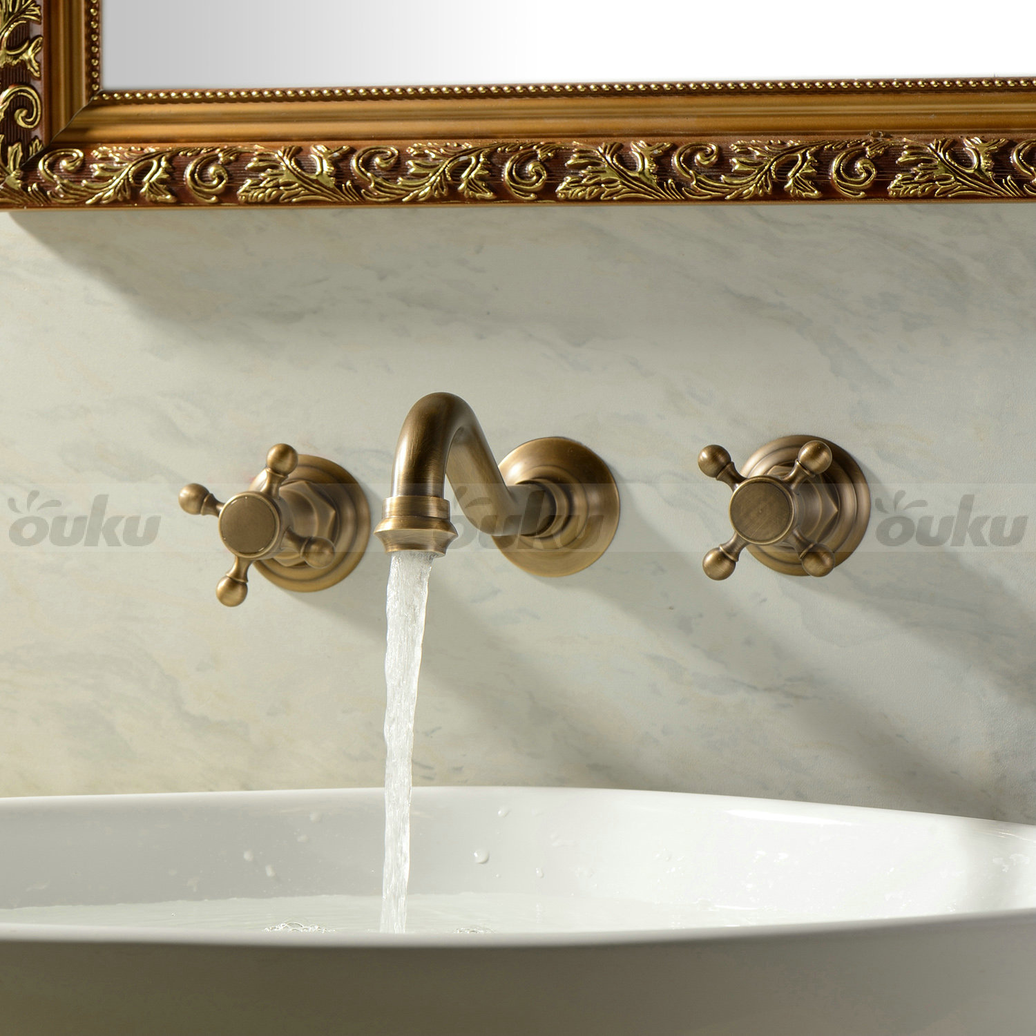 Wall mounted two handles three holes antique brass bathroom sink faucet cold hot ebay Antique brass faucet bathroom