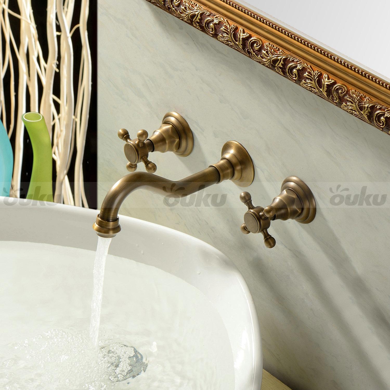 Vintage antique brass wall mount bathroom tub sink swivel - Antique brass faucets for bathroom ...