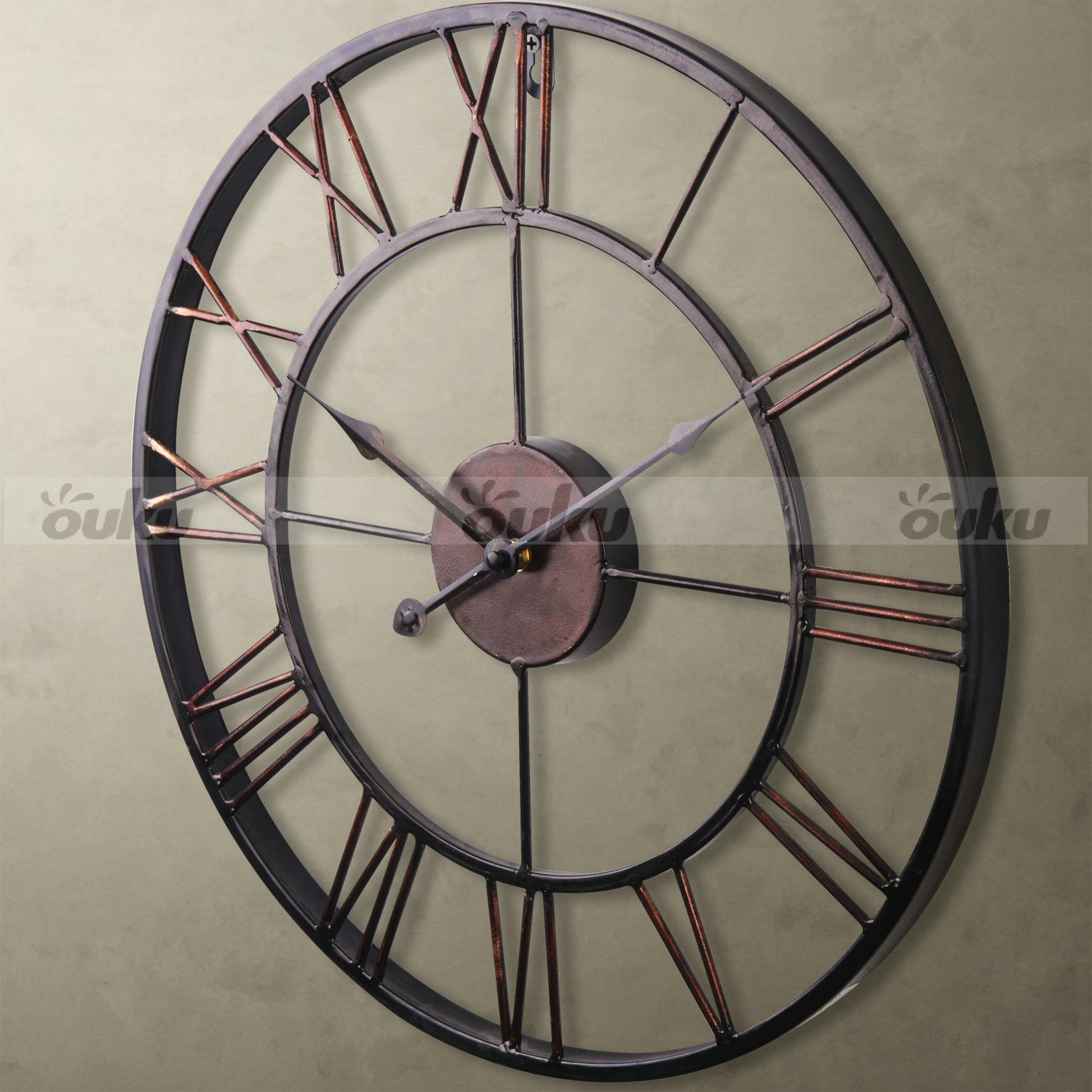 Large analog metal wrought iron wall clock provincial roman numerals bronze us ebay - Large roman numeral wall clocks ...