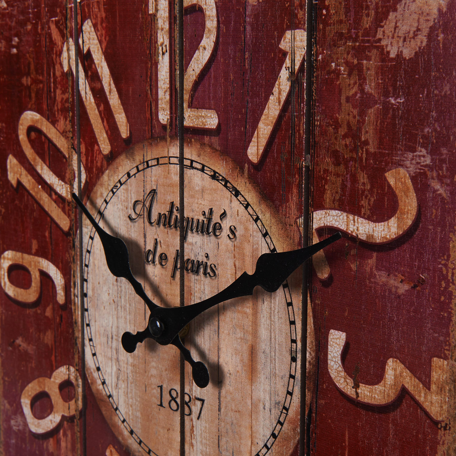 New wood wall clock old style art industrial vintage - Country style wall clocks ...