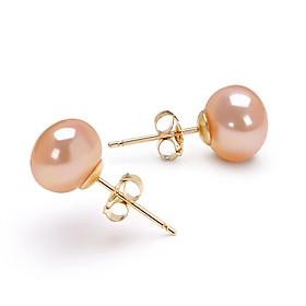 14k Gold Pink 7.5-8mm AAA Freshwater Pearl EarringImitation Diamond Birthstone