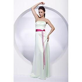 LAN TING BRIDE Floor-length Satin Bridesmaid Dress - Sheath / Column Strapless Plus Size / Petite plus size,  plus size fashion plus size appare