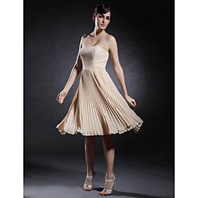 A-Line Strapless Sweetheart Knee Length Chiffon Stretch Satin Cocktail Party Homecoming Dress with Pleats by TS Couture plus size,  plus size fashion plus size appare