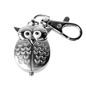 Silver Flip Open Owl Keychain Watch
