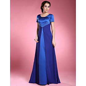 Image of Lanting Bride A-line Plus Size / Petite Mother of the Bride Dress Floor-length Short Sleeve Chiffon / Satin with Beading
