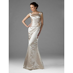 Floor-length Satin Elegant Bridesmaid Dress - Trumpet / Mermaid Square Plus Size / Petite with Flower(s) / Side Draping plus size,  plus size fashion plus size appare