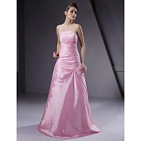 A-Line Princess Strapless Floor Length Taffeta Bridesmaid Dress with Beading Side Draping by LAN TING BRIDE
