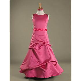A-Line Princess Jewel Neck Floor Length Satin Junior Bridesmaid Dress with Pick Up Skirt Sash / Ribbon by LAN TING BRIDE