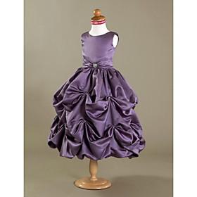 LAN TING BRIDE Ball Gown Tea-length Flower Girl Dress - Satin Scoop with Crystal Detailing Draping Pick Up Skirt
