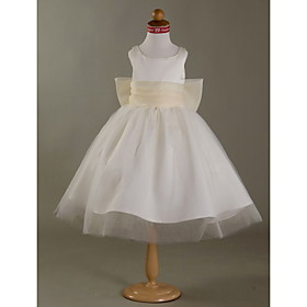 A-line Scoop Satin Tulle Tea-length Flower Girl Dress
