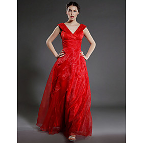Image of Lanting Bride A-line Plus Size / Petite Mother of the Bride Dress Floor-length Sleeveless Organza withRuffles / Cascading Ruffles /