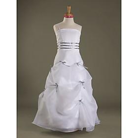 A-Line Princess Spaghetti Straps Floor Length Organza Satin Junior Bridesmaid Dress with Pleats by LAN TING BRIDE