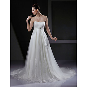 Image of Lanting Bride A-line / Princess Petite / Plus Sizes Wedding Dress - Chic Modern / Glamorous Dramatic Vintage Inspired Court Train
