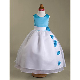 Ball Gown Floor Length Flower Girl Dress - Satin Sleeveless Scoop Neck by LAN TING BRIDE