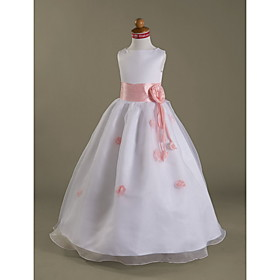 A-Line Princess Floor Length Flower Girl Dress - Organza Satin Sleeveless Bateau Neck with Flower by LAN TING BRIDE