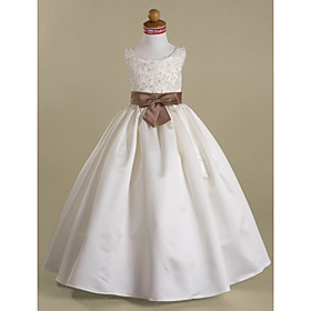 Ball Gown Floor Length Flower Girl Dress - Satin Sleeveless Scoop Neck with Beading by LAN TING BRIDE