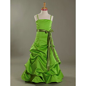 A-Line Princess Spaghetti Straps Floor Length Satin Junior Bridesmaid Dress with Bow(s) Pick Up Skirt Sash / Ribbon by LAN TING BRIDE