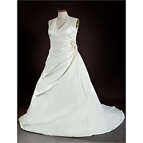A-Line Halter Court Train Satin Plus Size Wedding Dress