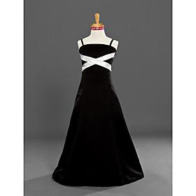 A-Line Princess Spaghetti Straps Floor Length Satin Junior Bridesmaid Dress with Sash / Ribbon by LAN TING BRIDE