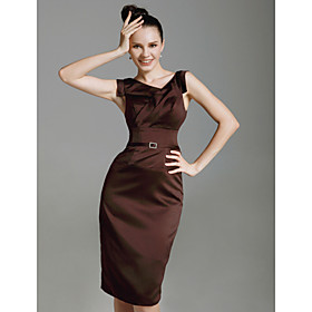 Sheath / Column V-neck Knee Length Stretch Satin Cocktail Party Dress with Crystal Brooch by TS Couture
