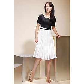 TS Couture Cocktail Party Graduation Holiday Dress - Short Celebrity Style A-line Princess Square Knee-length Satin Stretch Satin with plus size,  plus size fashion plus size appare
