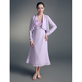 Image of Lanting Bride A-line Plus Size / Petite Mother of the Bride Dress - Wrap Included Tea-length Long Sleeve Chiffon / Stretch Satin with