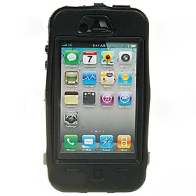 Extra Tough Protective Impact Housing Case LCD Screen Protector for iPhone 4 (Black)