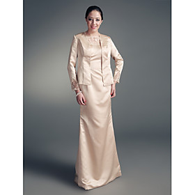 Sheath / Column Jewel Neck Floor Length Satin Mother of the Bride Dress with Beading Lace by LAN TING BRIDE plus size,  plus size fashion plus size appare
