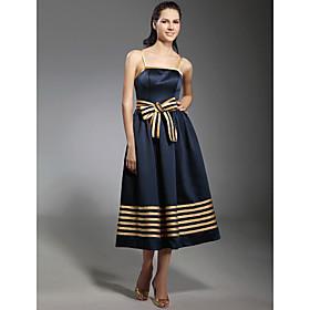 TS Couture Cocktail Party Dress - 1950s Plus Size / Petite A-line / Princess Spaghetti Straps Tea-length Stretch Satin with Bow(s) / Sash / Ribbon plus size,  plus size fashion plus size appare