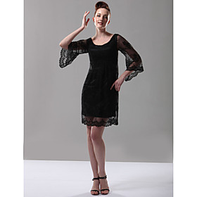 TS Couture Cocktail Party Holiday Dress - 1920s Celebrity Style Little Black Dress Sheath / Column Scoop Short / Mini Lace with Lace plus size,  plus size fashion plus size appare
