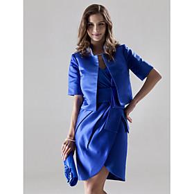 LAN TING BRIDE Short / Mini V-neck Bridesmaid Dress - Wrap Included Half Sleeve Satin plus size,  plus size fashion plus size appare