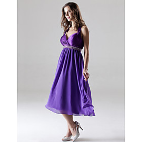 A-Line Princess Halter Sweetheart Knee Length Chiffon Charmeuse Bridesmaid Dress by LAN TING BRIDE