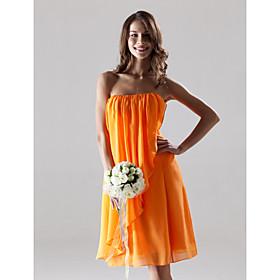 Sheath / Column Strapless Knee Length Chiffon Bridesmaid Dress with Draping Split Front by LAN TING BRIDE plus size,  plus size fashion plus size appare