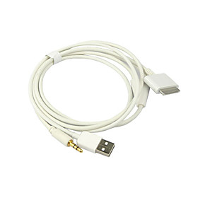 3-in-1 USB 3.5mm AUX Audio/Data/Charger Cable for iPod, iPhone and iPad (White)