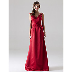 LAN TING BRIDE Floor-length V-neck Straps Bridesmaid Dress - Open Back Sleeveless Satin plus size,  plus size fashion plus size appare
