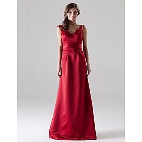 LAN TING BRIDE Floor-length V-neck Straps Bridesmaid Dress - Open Back Sleeveless Satin plus size,  plus size fashion plus size appare