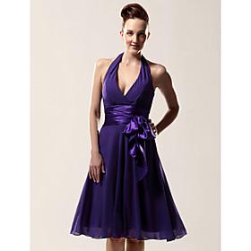 A-Line Halter V-neck Knee Length Chiffon Bridesmaid Dress with Bow(s) Sash / Ribbon by LAN TING BRIDE