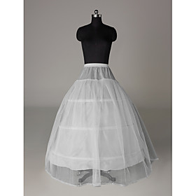 Slips A-Line Slip Floor-length 1 Nylon Tulle Netting White
