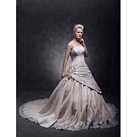 A-Line Strapless Cathedral Train Taffeta Beaded Lace Custom Wedding Dresses with Beading Appliques Lace Inset Flower by LAN TING BRIDE plus size,  plus size fashion plus size appare