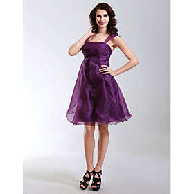A-Line Princess Straps Knee Length Organza Cocktail Party Homecoming Holiday Dress with Ruching Ruffles by TS Couture plus size,  plus size fashion plus size appare