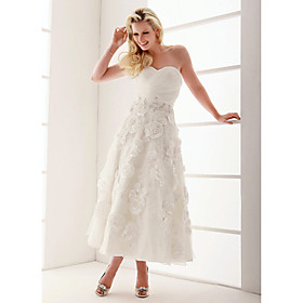 A-Line Princess Sweetheart Ankle Length Organza Wedding Dress with Beading Appliques Criss-Cross by LAN TING BRIDE plus size,  plus size fashion plus size appare